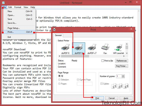 Create PDF files from Notepad with doPDF