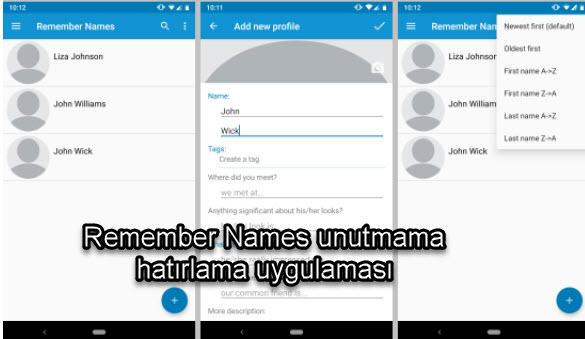 Remember Names unutmama hatırlama uygulaması