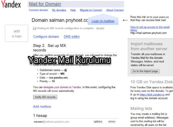 Yandex Alan Adı (Domain) Uzantılı Mail Alma