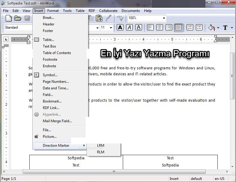 yazı yazma programı ekran görüntüsü